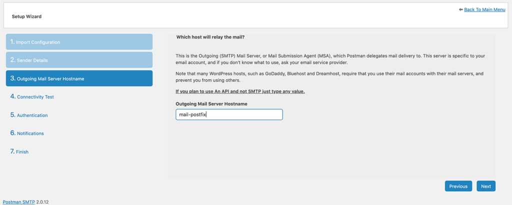 Post SMTP outgoing mail server configuration