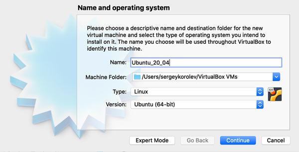 Enter the Virtual Machine Name (macOS)