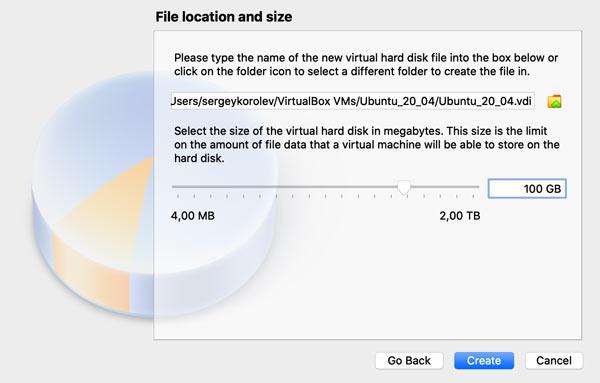 Set the Virtual Hard Disk File Size (macOS)