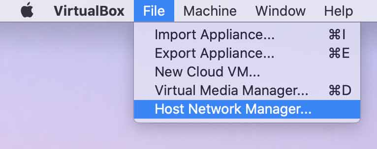 Main Menu: File > Host Network Manager... (macOS)