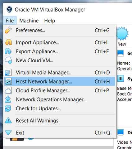 Main Menu: File > Host Network Manager... (Windows)