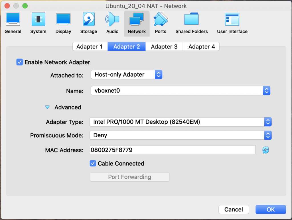 Virtual Machine Host-only Adapter Configuration (macOS)