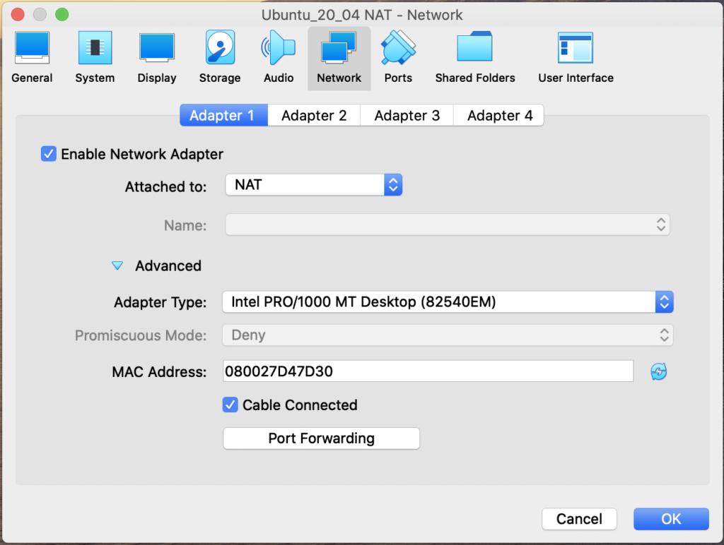 Virtual Machine NAT Adapter Configuration (macOS)