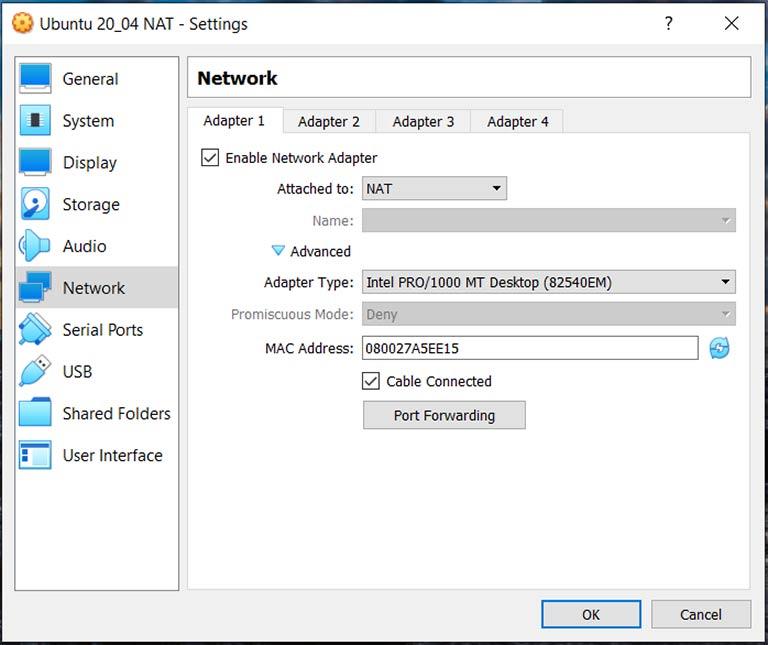 Virtual Machine NAT Adapter Configuration (Windows)