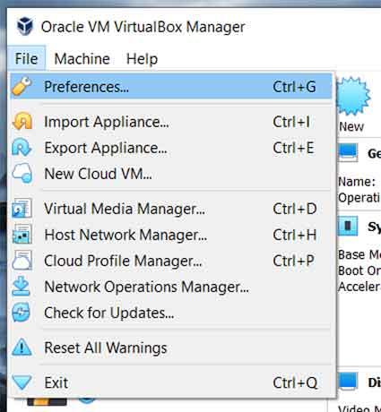 VirtualBox Preferences Menu (MS Windows)