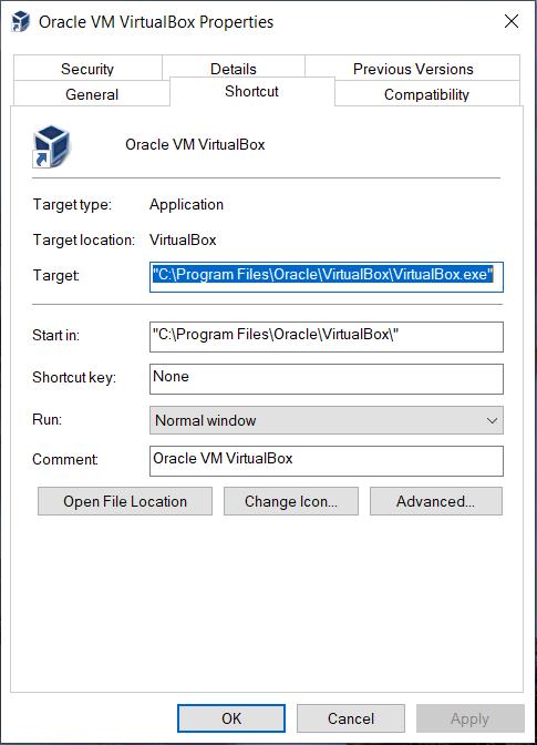 VirtualBox Desktop Shortcut Right-Clicked