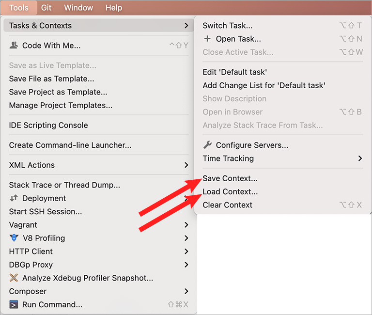 Save and Load Context in PhpStorm